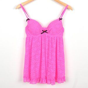 La Senza Hot Pink Sexy Push Up Babydoll Teddy/Lingerie w/ Floral lace